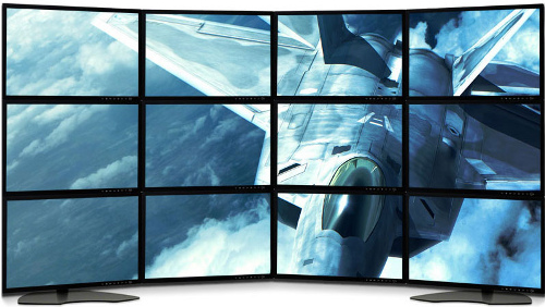 12-monitorový LCD displej v komerčnom predaji