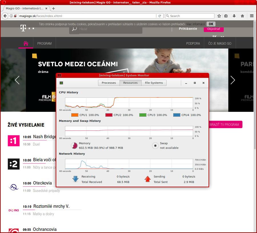 Vyťažovanie CPU na 100% na stránkach Telekomu magiogo.sk 2dc4e0cb1c8